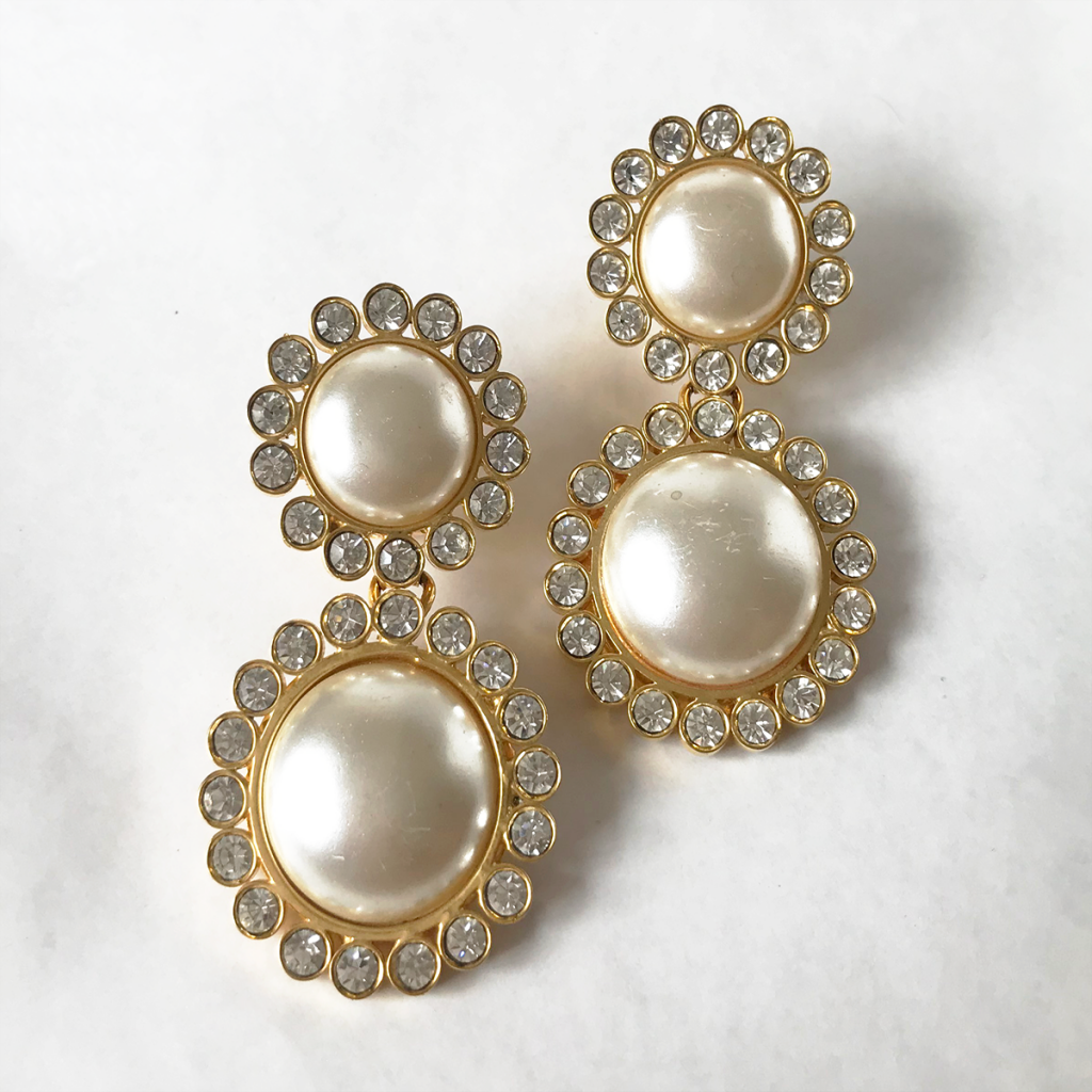 Aros vintage perlas y strass