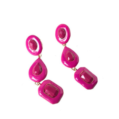 aros largos color fucsia