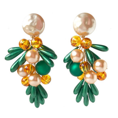 aro de resina verde y perla
