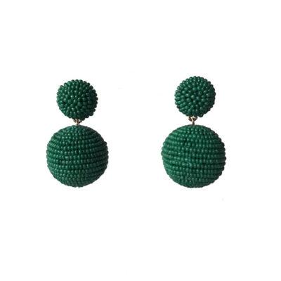 aros verdes cortos de mostacillas