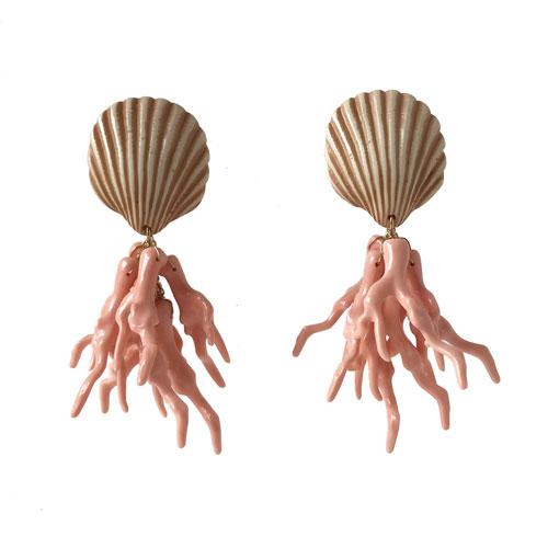 Aros corales rosa y beige