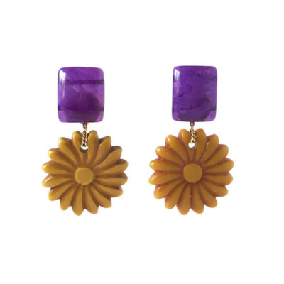 aros resinas flores violeta y mostzaz