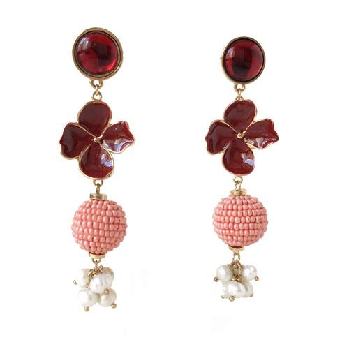 aro largo rojo con perlas