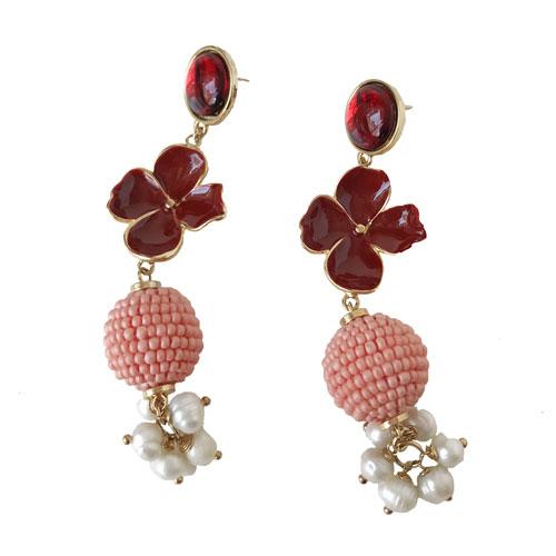 aro rojo con perlas y coral