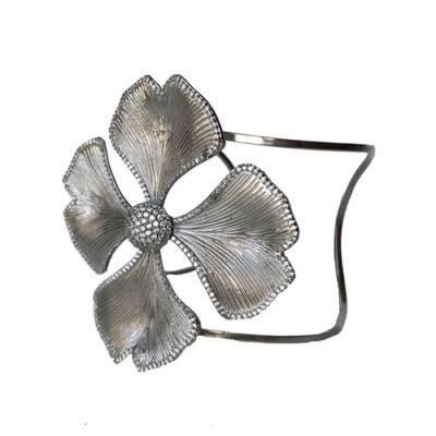 pulsera joya plateda con flor