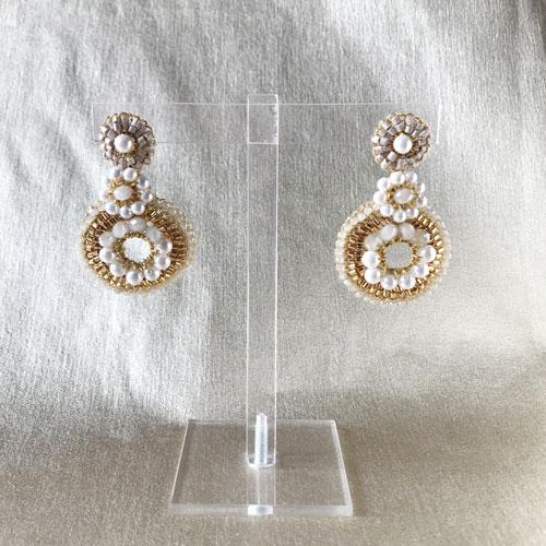 aros de cristal y perla dorada