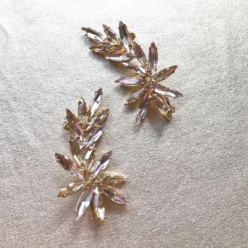 earcuff dorado de cristal