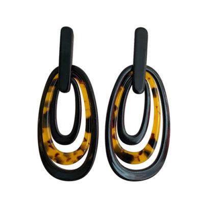 aros largos de resina color negra