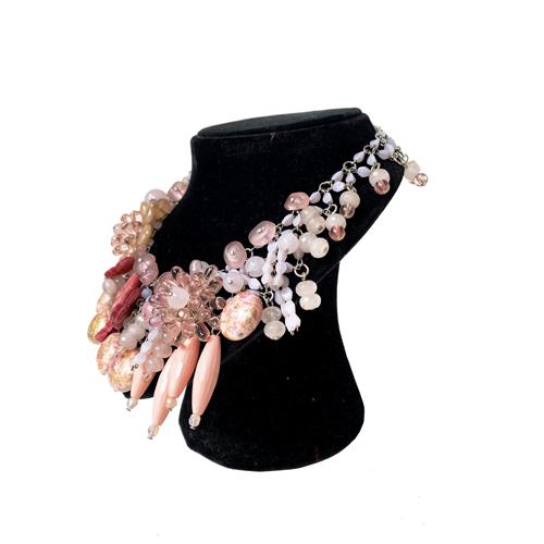 colllar corto rosa de cristal