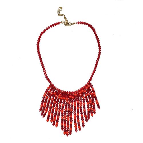 collar de cristal rojo