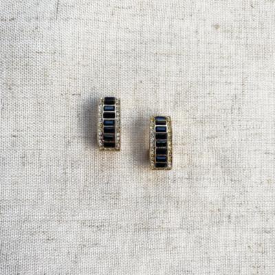 argollas de cristal negra y plateada