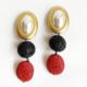 aros de perlas negro y rojo