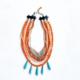 collar turquesa y naranja