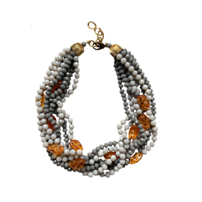 collar gris y naranja de resina