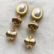 aro largo dorado con perla