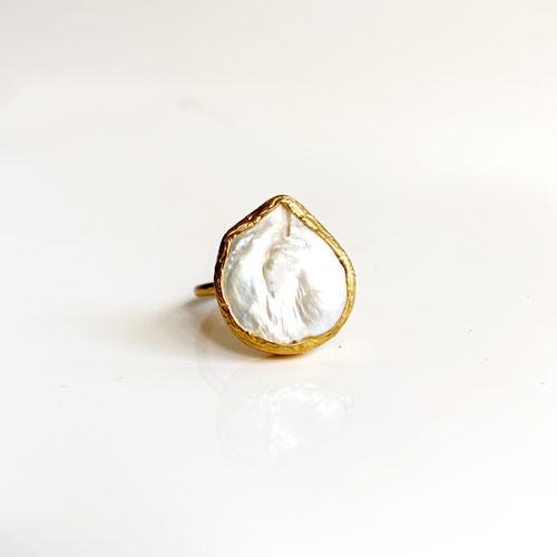 anillo lagrima perla