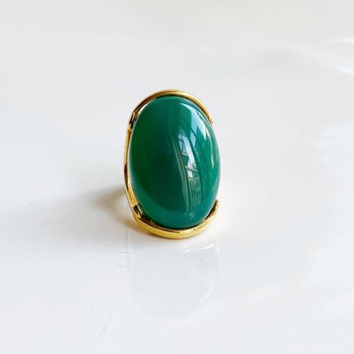 Anillo cuarzo oval verde