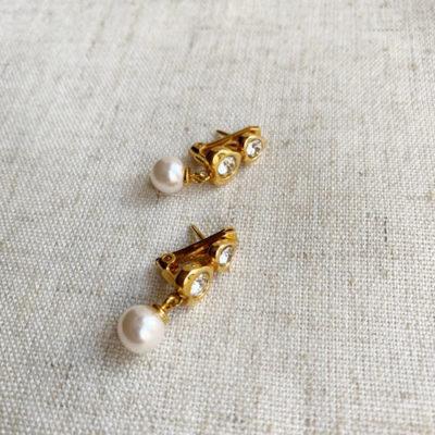 aros de perlas cortos