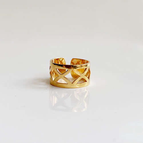anillo calado dorado