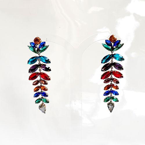 aro de cristal largo multi color