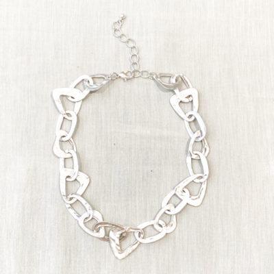 collar cadena plateada sin brillo