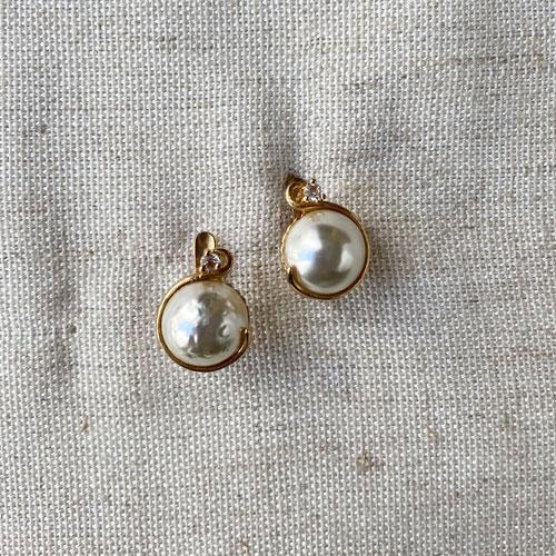 aros perla con metal