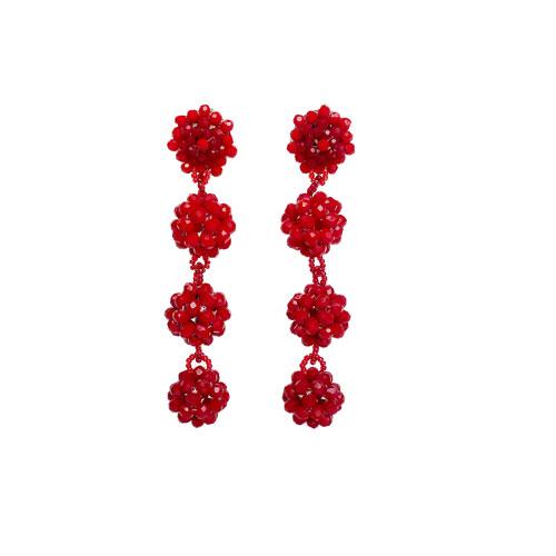 aros rojos de cristales largoa