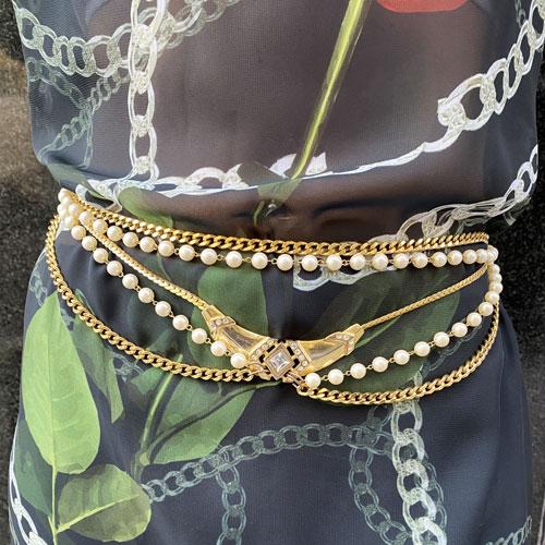 cinturon vintage cadena y perla