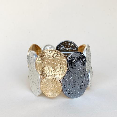 pulsera elastica plateada dorada y gris