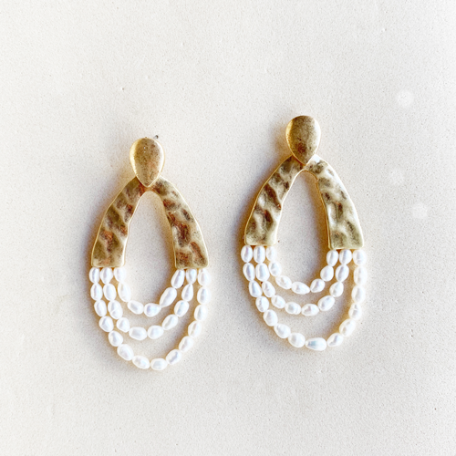 aros dorado con perla