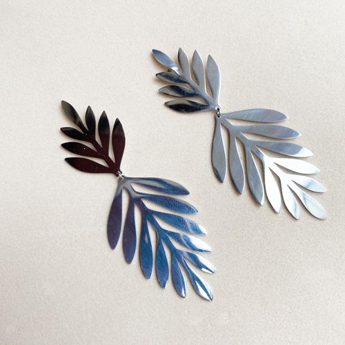 aros plateado de hojas