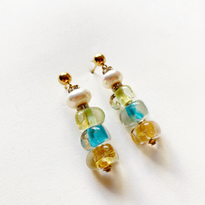 aros de cristal y perla