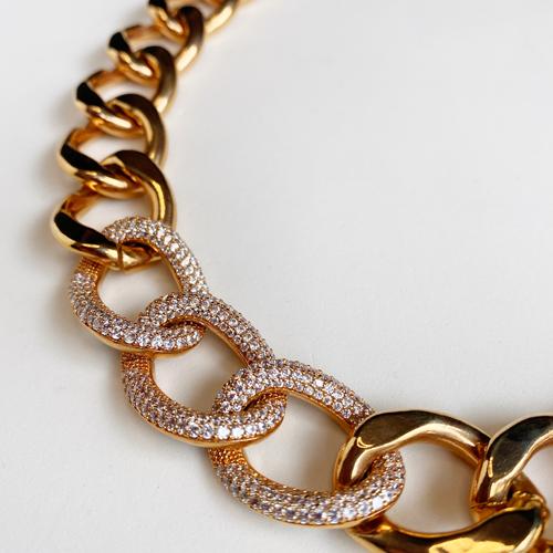 cadena oro rosado con cubic zirconia