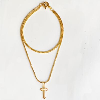 collar de dos vueltas de cadena con cruz