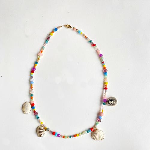 collar corto multi color con cristales