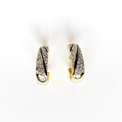 argollas de cristales dorado neegro