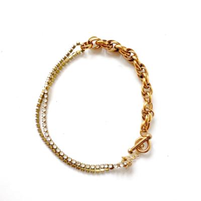 collar corto stras y cadena
