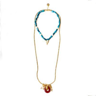 collar largo tuerquesa con cadena dorada