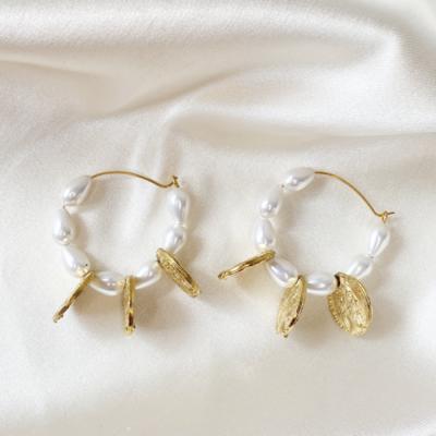 aros argolla de perlas