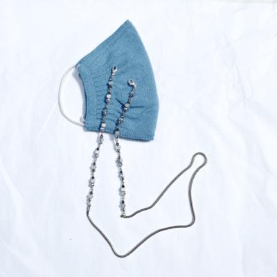 barbijo azul con porta barbijos