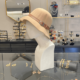sombrero beige paño