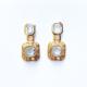 aros pequeños de cristal con dorado