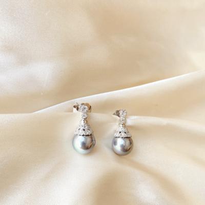 aros de perlas gris
