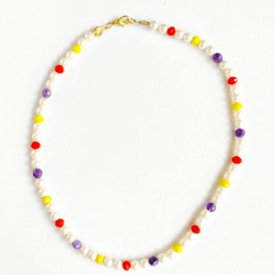 collar corto perla y cristal