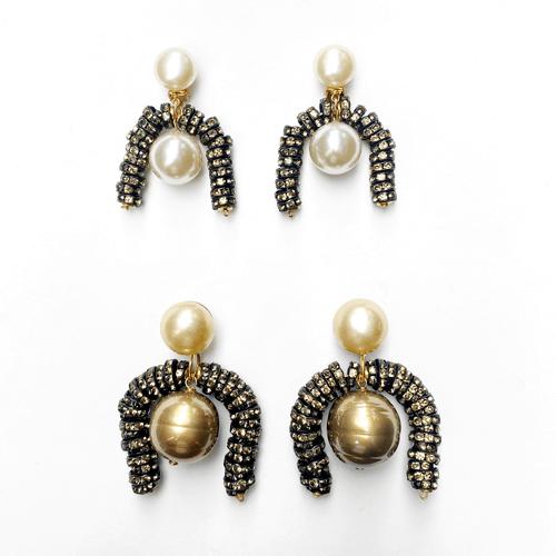 aros de perlas con cristal