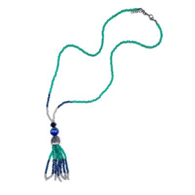 collar largo verde azul y gris
