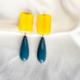 aros azul con amarillo de resina