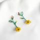aros mostacillas flores