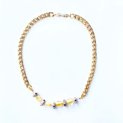 collar cadena lila y dorado