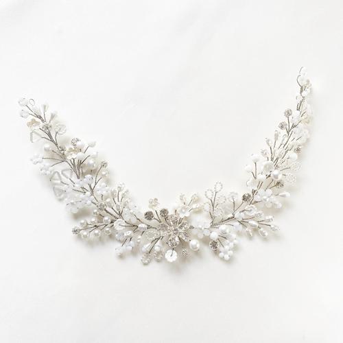 tocado blanco con cristal